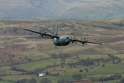 A Hercules approaches the valley