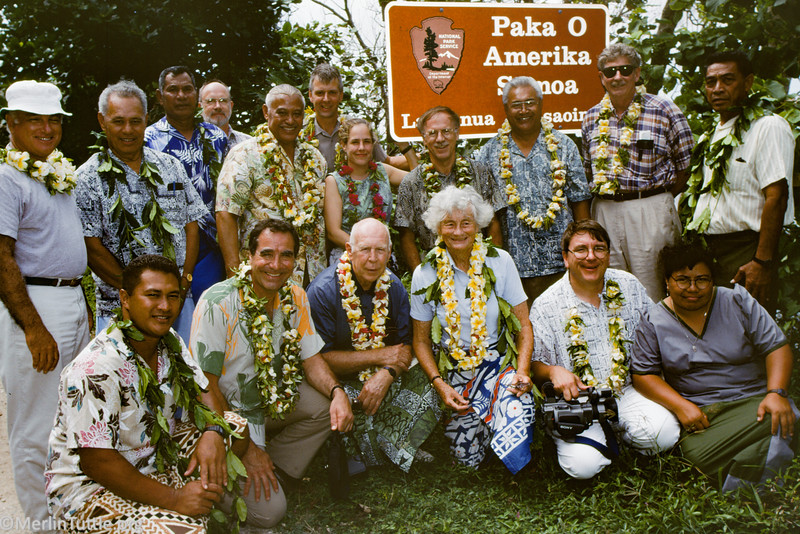 Leadership individuals, including Congressman Bruce Vento, Verne and Marion Read, Paul Cox, and Merlin Tuttle,  celebrating establishment of the National Park of American Samoa in 1997. Conservation