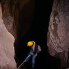 Merlin Tuttle ready to step off the icy lip of a 105-foot free-fall drop into a gray myotis hibernation cave in Alabama. Field Work