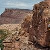 Merlin Tuttle rappelling down cliff face in Utah in search of bat roosts. Field Work