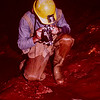 Merlin Tuttle photographing cave crayfish in Shelta Cave, Alabama in the 1970's.