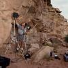 Merlin Tuttle photographing roosting California myotis in Utah. Photographing Bats