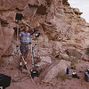 Merlin Tuttle photographing a small nursery colony of California myotis (Myotis californicus) in a Utah cliff face in 1992. Photographing Bats