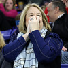 Lowell Catholic High School hockey scored two goals to beat Stoneham High School in the Division 2 North Championship at the Tsongas Center at UMass Lowell on Monday night.  Ann Gleason watches the game on the edge of her seat as she cheers on the LCHS team and her son goalie Colin Gleason SUN/JOHN LOVE