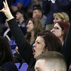 Lowell Catholic High School hockey scored two goals to beat Stoneham High School in the Division 2 North Championship at the Tsongas Center at UMass Lowell on Monday night. Cheering on LCHS hockey team and her nephew Cam Pereira is Olga Porter. SUN/JOHN LOVE