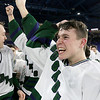 Lowell Catholic High School hockey scored two goals to beat Stoneham High School in the Division 2 North Championship at the Tsongas Center at UMass Lowell on Monday night.  Celebrating their win is Dawson Taylor. SUN/JOHN LOVE