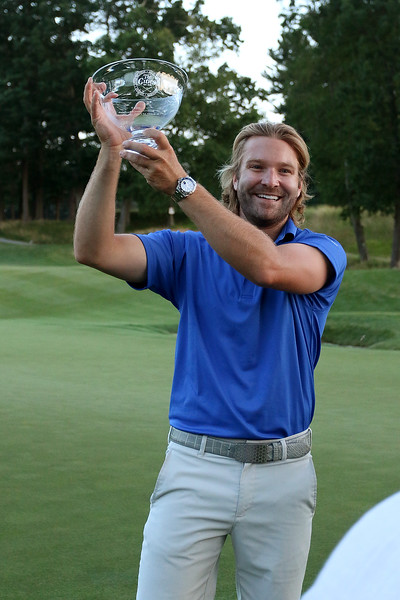 Winner of the Lowell City Golf Tournament at Vesper Country Club in Tyngsboro Rich Campiola holds up his trophy. SUN/JOHN LOVE