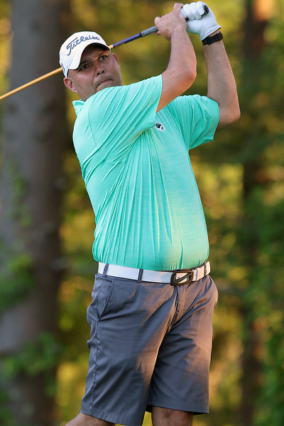 Scott Pare tees off during the Lowell City Golf Tournament at Vesper Country Club in Tyngsboro on Wednesday afternoon. SUN/JOHN LOVE