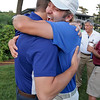 Winner of the Lowell City Golf Tournament at Vesper Country Club in Tyngsboro Rich Campiola celebrates his win with his best friend Dan Conboy. SUN/JOHN LOVE