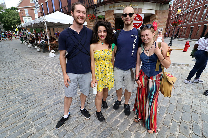 The last day of 2018 Folk Festival was packed with good food and great performances. Enjoying the festivities is from left Drew Gentile, Giselle Jefferson, Lucas Brown and Marianne Rosa all of Lowell. LOWELL SUN/JOHN LOVE