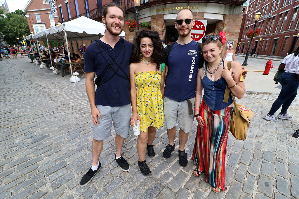 . The last day of 2018 Folk Festival was packed with good food and great performances. Enjoying the festivities is from left Drew Gentile, Giselle Jefferson, Lucas Brown and Marianne Rosa all of Lowell. LOWELL SUN/JOHN LOVE