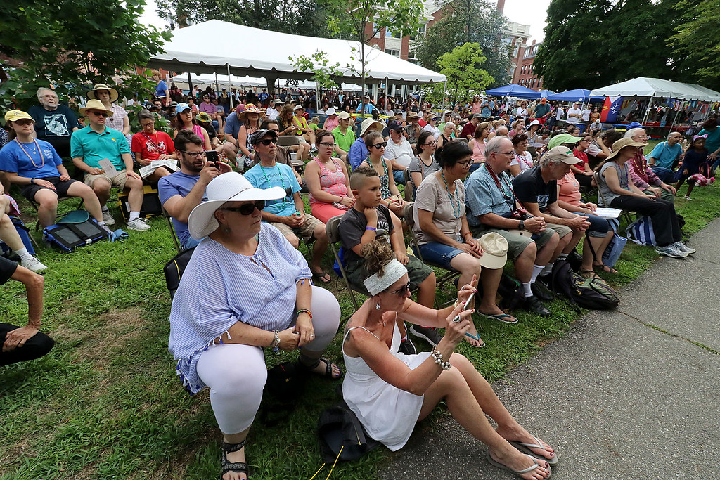 . The last day of 2018 Folk Festival was packed with good food and great performances. Many Enjoyed the Native American sounds from the Burnurwurbskek Singers as they performed on the Saint Anne\'s Churchyard stage during the festival. LOWELL SUN/JOHN LOVE