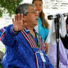 The last day of 2018 Folk Festival was packed with good food and great performances. Dean Francis with the Burnurwurbskek Singers addresses the crowd before one of their songs as they performed on the Saint Anne's Churchyard stage during the festival. The group was from the Penobscot tribe. LOWELL SUN/JOHN LOVE