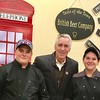 British Beer Company's Zachary Hughes and Gabrielle Hathaway, both of Ayer, with radio and TV personality Billy Costa, center