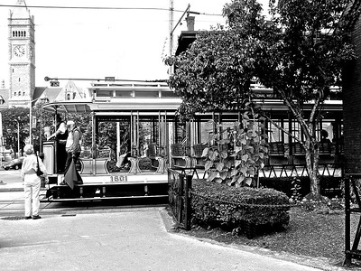 Trolley in BW - Lowell, MA
