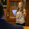 Jaclyn Smith, 27, talks in favor of the Thorndike Exchange project owned by Sal Lupoli at the City of Lowell's Planning Board meeting on Wednesday night. SUN/JOHN LOVE
