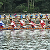 Dragon Boat teams underway on the Merrimack River at the 23th Lowell Southeast Asian Water Festival. SUN/David H. Brow