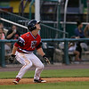 The Lowell Spinners Ryan Scott watches the ball as he leads of third during their game against the Brooklyn Cyclones at Monday nights game. SUN/JOHN LOVE