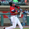 The Lowell Spinners CJ Chatham swings at a pitch during their game against the Brooklyn Cyclones on Monday night. SUN/JOHN LOVE