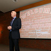 The Lowell Spinners held an unveiling their new logo during a ceremony in the Clark Auditorium at Lowell General Hospital on Wednesday morning February 1, 2017. The Spinners General Manager Shawn Smith welcomes everyone to the unveiling. SUN/JOHN LOVE