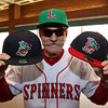 The Lowell Spinners held an unveiling their new logo during a ceremony in the Clark Auditorium at Lowell General Hospital on Wednesday morning February 1, 2017. The Dog Man Del Christman shows off three of the hats with the new logo's. SUN/JOHN LOVE