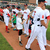 The Lowell Spinners opening day was on Monday afternoon, June 19, 2017, at LeLacheur Park. Local Youngsters get the chance to run out on the field with the players as they are announced just before the national anthem. SUN/JOHN LOVE