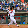 The Lowell Spinners opening day was on Monday afternoon, June 19, 2017, at LeLacheur Park. Spinners player Yomar Valentin watches his hit during action in their match up against the Vermont Lake Monsters. SUN/JOHN LOVE