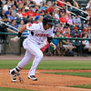 The Lowell Spinners opening day was on Monday afternoon, June 19, 2017, at LeLacheur Park. Spinners player Victor Acosta takes off down the first base line after his hit during action in their match up with Vermont Lake Monsters. SUN/JOHN LOVE
