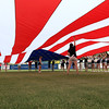 The Lowell Spinners opening day was on Monday afternoon, June 19, 2017, at LeLacheur Park. A giant American flag was out in the outfield during the singing of the national anthem to start the game. SUN/JOHN LOVE
