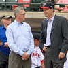 The Lowell Spinners opening day was on Monday afternoon, June 19, 2017, at LeLacheur Park. Lowell City Manager Kevin Murphy chats with the owner of the spinners Dave Heller just before the game started. SUN/JOHN LOVE