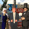 George Washington aka Andrew Couture, Donald Trump and Abraham Lincoln aka Michael Barth share a few words at Civic Day SENTINEL&ENTERPRISE/Scott LaPrade