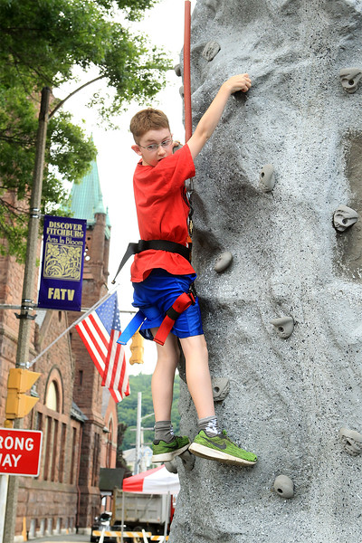 Zachary Plant of Fitchburg on the rock climbing<br /> at Civic Day SENTINEL&ENTERPRISE/Scott LaPrade