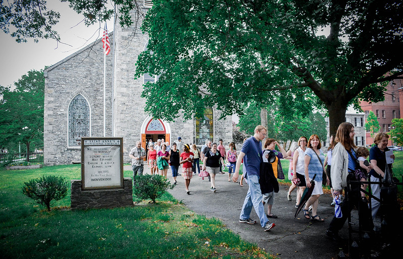 Lowell Walks tour leaves Saint Anne's Episcopal Church as part of one of the many church's in Lowell they visited. SUN/Caley McGuane