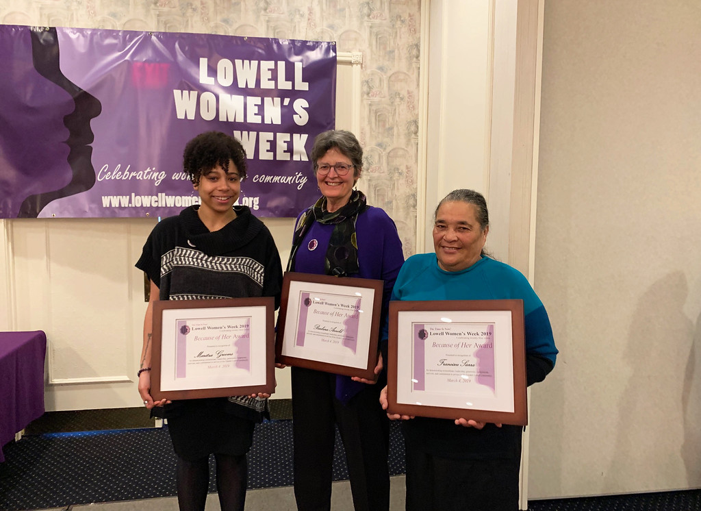 . Recipients of the 2019 Because of Her Award recipients, from left, Martiza Grooms, Barbara �Barney� Arnold and Francisca Sierra