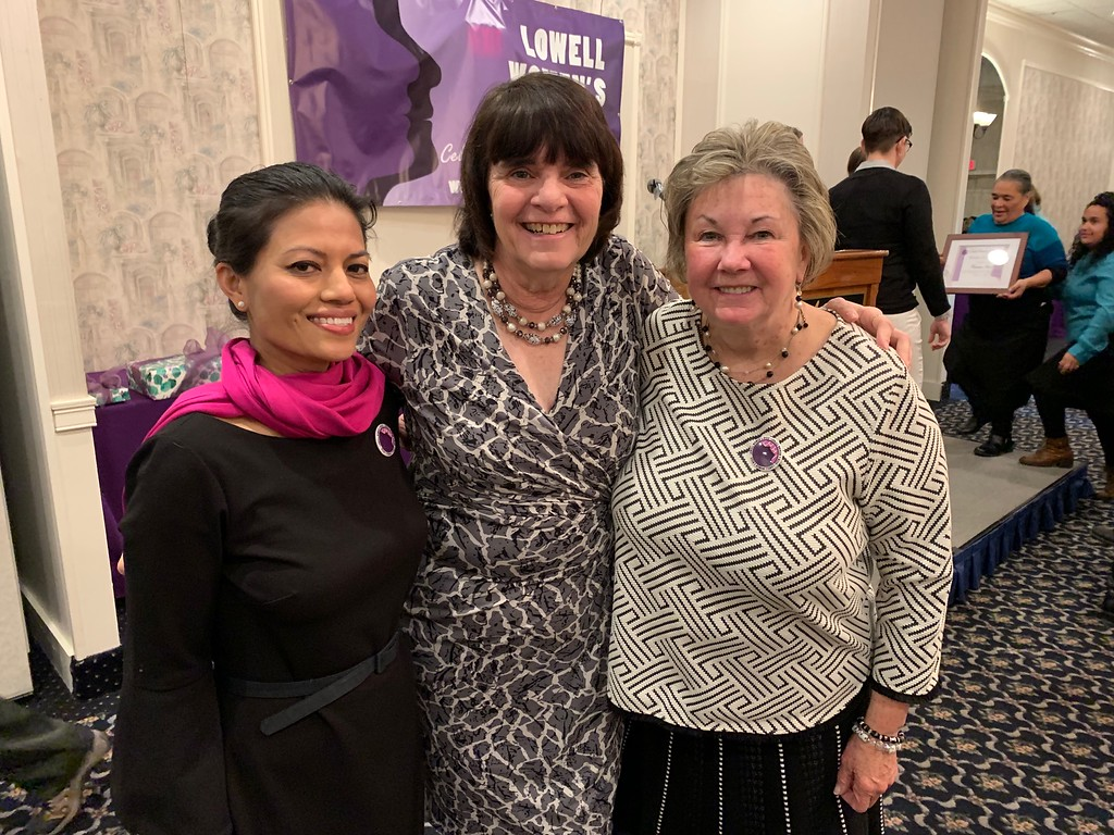 . From left, emcee Vanna Howard of Lowell, Middlesex District Attorney Marian Ryan and City Councilor Rita Mercier