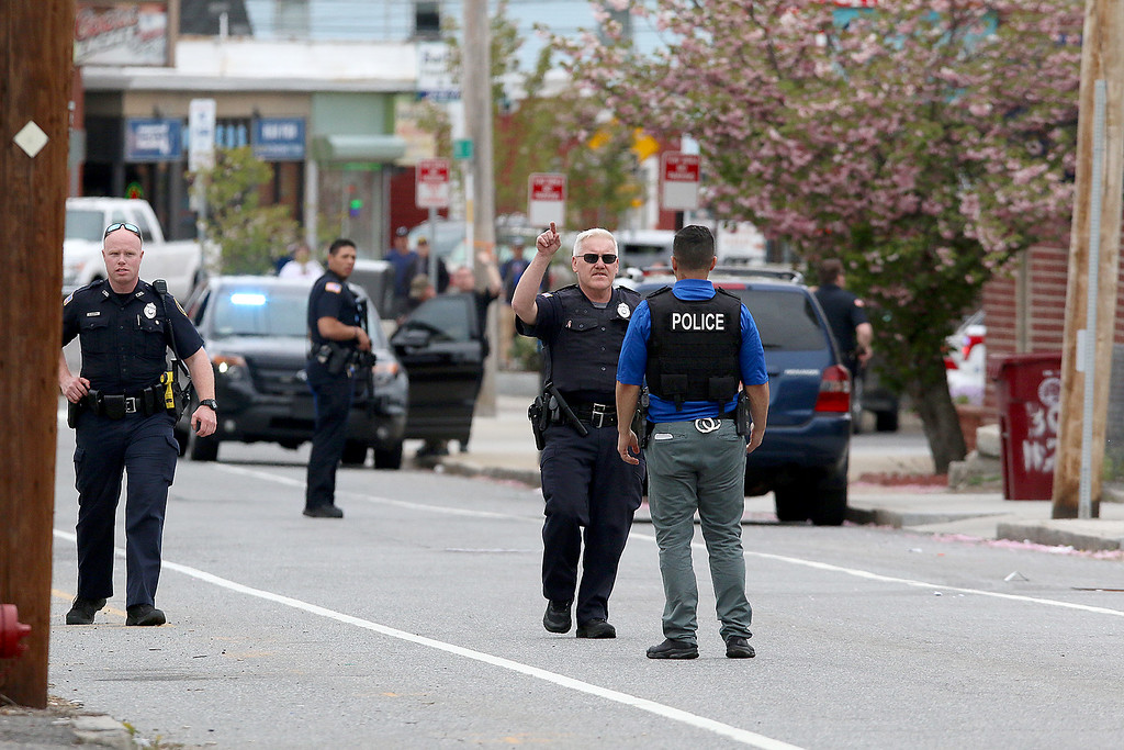 . Lowell Police shut down Pine Street near Couples Squares in Lowell as they search for Ross Elliott of Lowell who was a suspect in the killing of  a women early Thursday morning. SUN/JOHN LOVE
