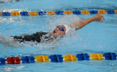 Kelsey Robinson reaches out in backstroke.