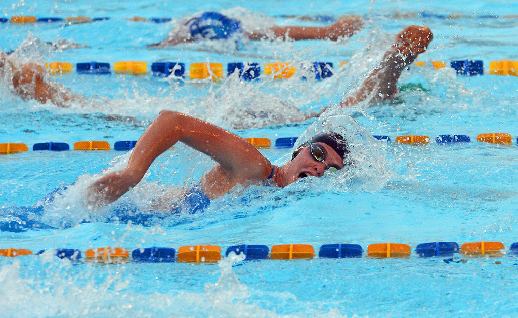 . Hailey Goodyear swims for the 15-18 mixed relay team.