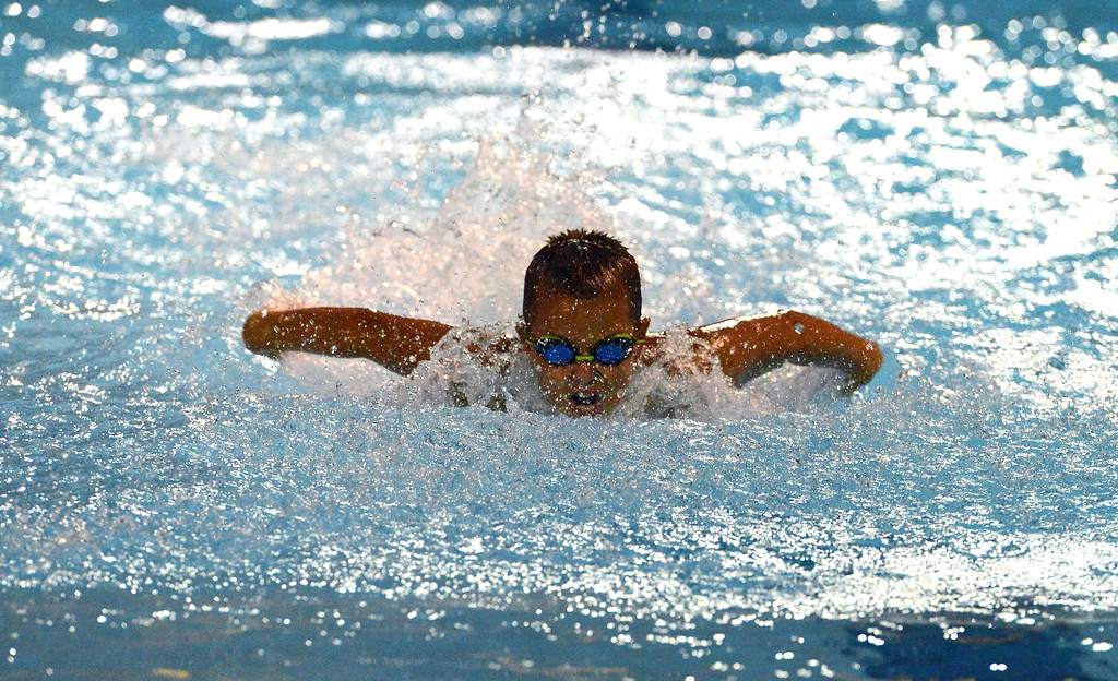 . Tommy Yaegel shows good form in 9-10 butterfly event.
