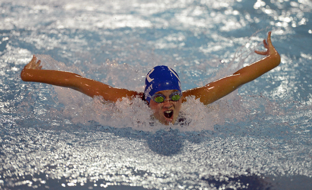 . Megan McKendrig goes all out in the 50 meter butterfly race.