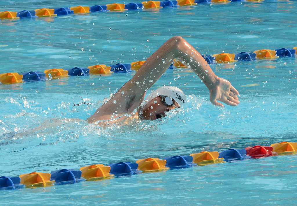 . Mark Disbrow wins his heat of the men\'s 12-18 50 meter freestyle.