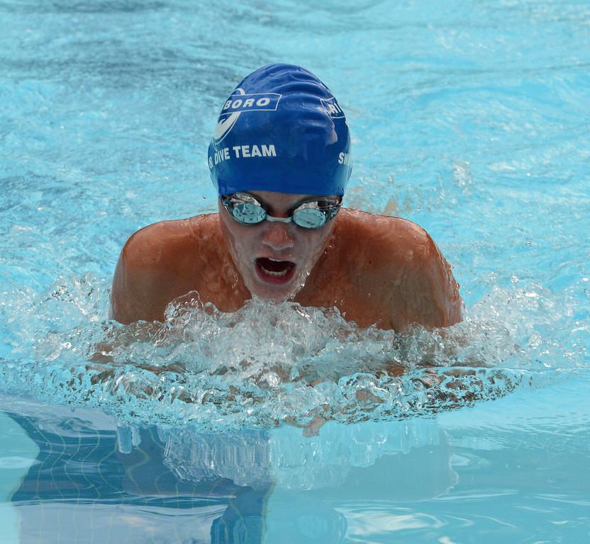 . Will Slaman swims the 50 breaststroke for Richboro.