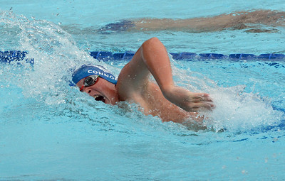 Connor Goodyear swims the 13-14 100 free in the Lower Bucks Swim League Championships held July 30-Aug. 2, 2017 at Lower Makefield Swim Club, Lower Makefield, Pa. (John Gleeson – 21st-Century Media)