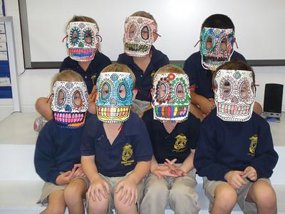Kindergarten with calavera masks