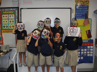 2nd grade with calavera masks