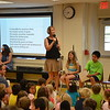 Head of Lower School Sue Szczepkowski welcomes students and faculty