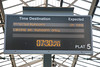 Departure board on the bay platform 5 at Chester<br /> <br /> I love the way it shows RUNCORN ONLY<br /> <br /> 30th July 2011