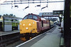 37 418 at journeys end Runcorn Mainline <br /> <br /> Then we would storm the approx. mile and a half into Runcorn <br /> <br /> And no sooner had you got off & shut the door of the MK 1 coach the <br /> <br /> tip was given and the 37 Roared off i've never seen a train depart so <br /> <br /> fast in my life. <br /> <br /> Sadly today 2013 and for the last few years this move has been a <br /> <br /> Northern Rail unit usually a 150 not sure if 142's are allowed up <br /> <br /> there?  <br /> <br /> Although i did come back out for it on the first run of the 2011 season