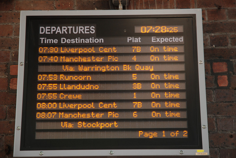 Chester <br /> <br /> Date 30th July 2011 <br /> <br /> More up to date pictures now: <br /> <br /> I couldnt resist this shot of the departure board showing the: <br /> <br />  07.53 Chester to Runcorn Mainline one way only <br /> <br /> No return service