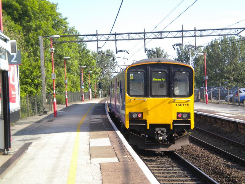 150 115 <br /> <br /> Departs Runcorn Mainline <br /> <br /> Heading for Liverpool ECS <br /> <br /> Working 5F26 08.16 Runcorn - Liverpool Lime Street ECS <br /> <br /> 8th June 2013